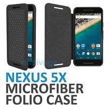 Genuine Official Google Nexus 5X Folio Flip Case Microfiber Carbon Black for LG