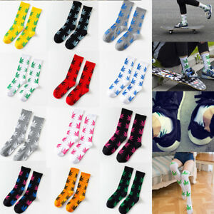 Socks-Weed-Leaf-Chaussettes-Feuilles-Marijuana-Cannabis-Skateboard-Cotton-Comfor