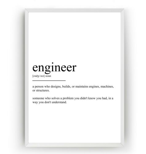 Unframed Engineering Print Dorm Wall Art Gift Engineer Definition Poster