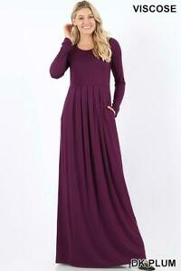 Details about Plus Size Pleated Waist Long Sleeve Dress With Side Pockets  Plum 3X