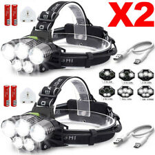 Elfeland 85000Lm 2x T6 LED Zoomable USB Rechargeable Headlight Headlamp Torch