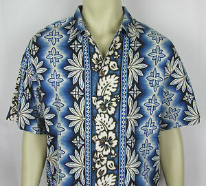 08c6d5c84 IOLANI Hawaiian shirt short sleeve Aloha Made in Hawaii USA Blue ...