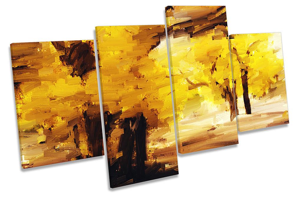 Gelb Forest Landscape MULTI CANVAS WALL ARTWORK Print Art