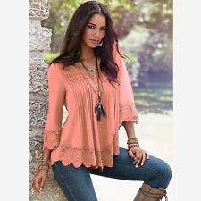 New Women Summer Fashion Long Sleeve Shirt Casual Blouse Lace Loose Tops T Shirt