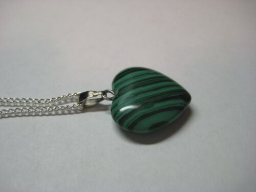Heart Necklace with Malachite Gemstone /& 925 Sterling Silver Chain 18 inches