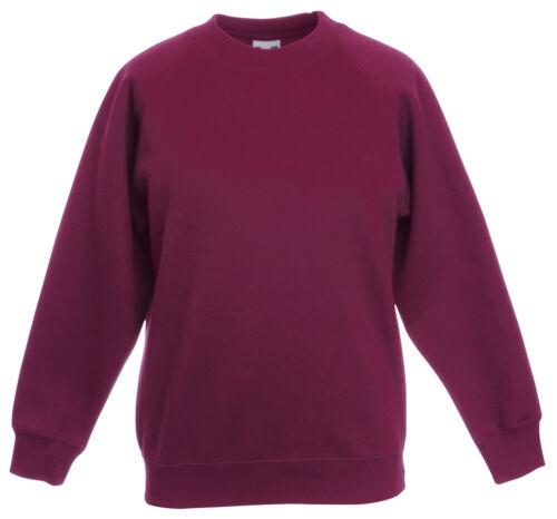 Fruit of the Loom BURGUNDY MAROON Childs Boys Girls School Sweatshirt Jumper