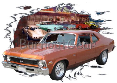 1970 Orange Chevy Nova Custom Hot Rod Diner T-Shirt 70 Muscle Car Tees
