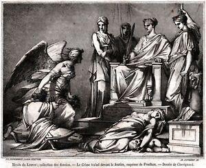 Il-Crimine-trascinato-d-039-avanti-alla-Giustizia-Stampa-Antica-Passepartout-1854