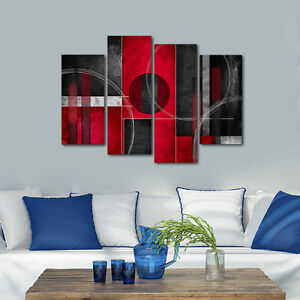 Details About Abstract Canvas Print Home Decor Wall Art Painting Pictures Red Black Framed