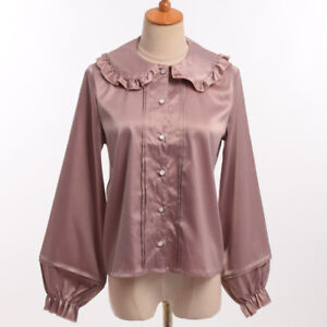 Girls-Sweet-Lolita-Peter-Pant-Ruffle-Collar-Long-Sleeve-Blouse-Shirt-Tops-2Color