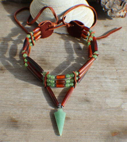 Native American Choker w// Aventurine Arrowhead Cherokee made William Lattie Cert