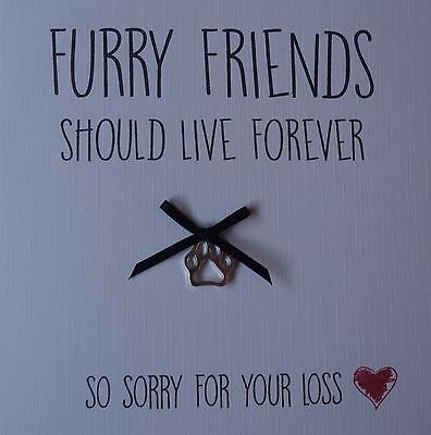condolence Sorry for your loss Sympathy dog Furry Friend card with charm