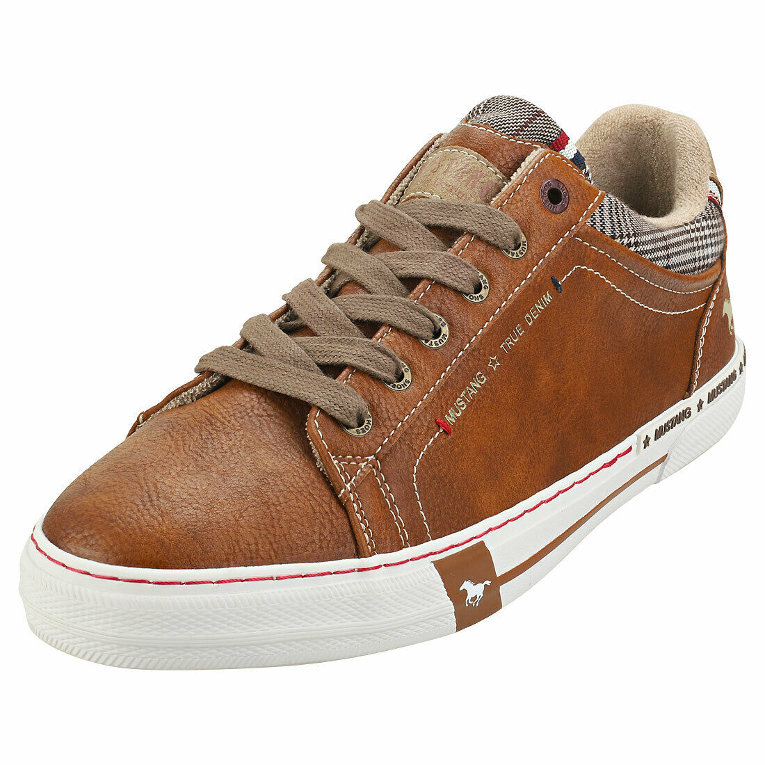 Mustang Lace Up Low Top Mens Cognac Sneaker Fashion