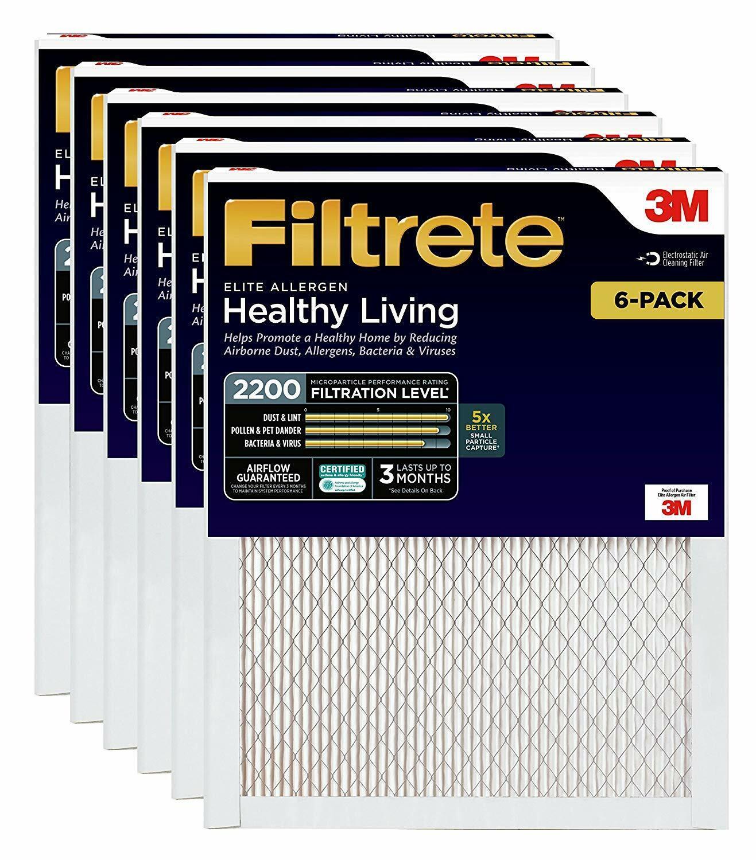 "3M 4/""-thick Filtrete Filter Ultra Reduce Dust Allergens Bacteria Viruses 2-Pack"