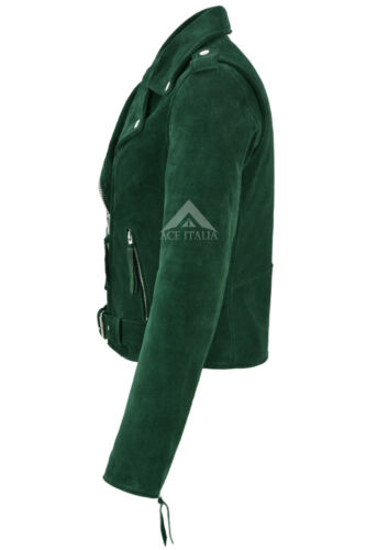 Style Ladies Mbf Brando Motorcycle Suede Leather Fitted Green Biker Jacket wRUqw