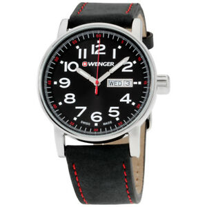 Wenger-Attitude-Black-Dial-Leather-Strap-Men-039-s-Watch-010341103