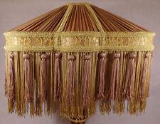 Antique Gold & Brass Bridge Victorian Pleated Fringed Uno Fabric Lamp Shade 777G