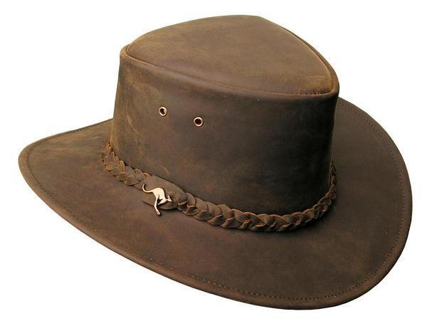 LARGE LEATHER HAT KAKADU TRADERS  NULLARBOR  H57 50+UPF BROWN NWT