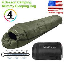 Olive Green Mummy Sleeping Bag Warmly -5-10 ? 4 Season Outdoor Camping Hiking US