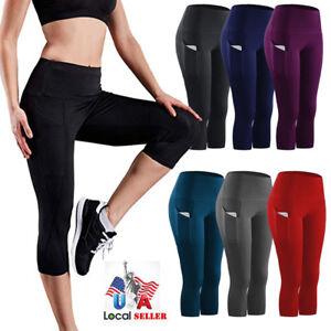 HOT-Womens-Gym-Yoga-Workout-Fitness-Compression-Capri-Leggings-Pants-Pockets-X39
