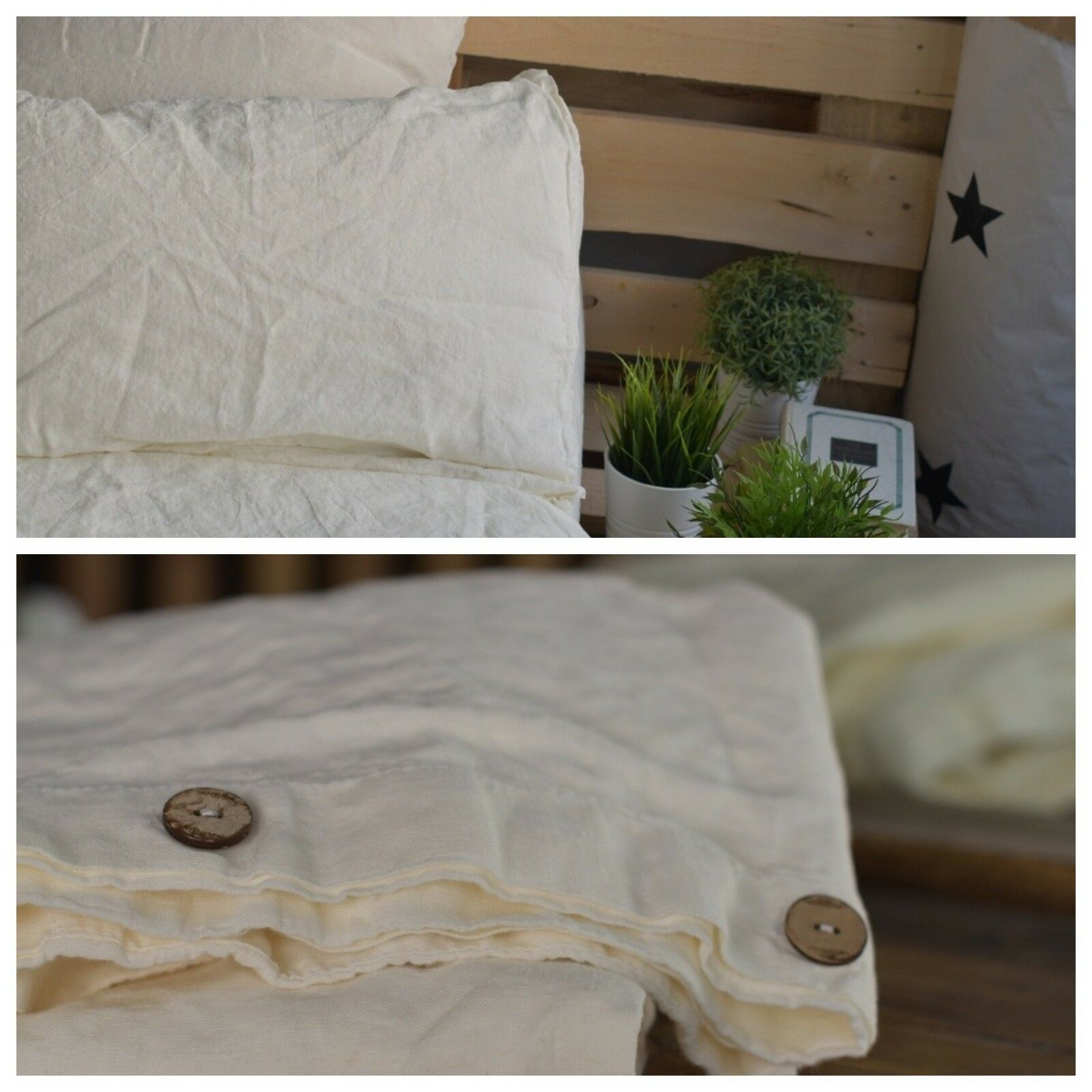 DUVET COVER set & pillow with envelope closures antique white Stone Washed Seam