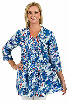 New Spirituelle Lulu Cotton Tunic Top - Bold Paisley Sizes S - 2XL