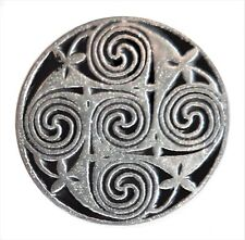 Celtic Five Swirl Pewter Pin Badge - Hand Made in Cornwall