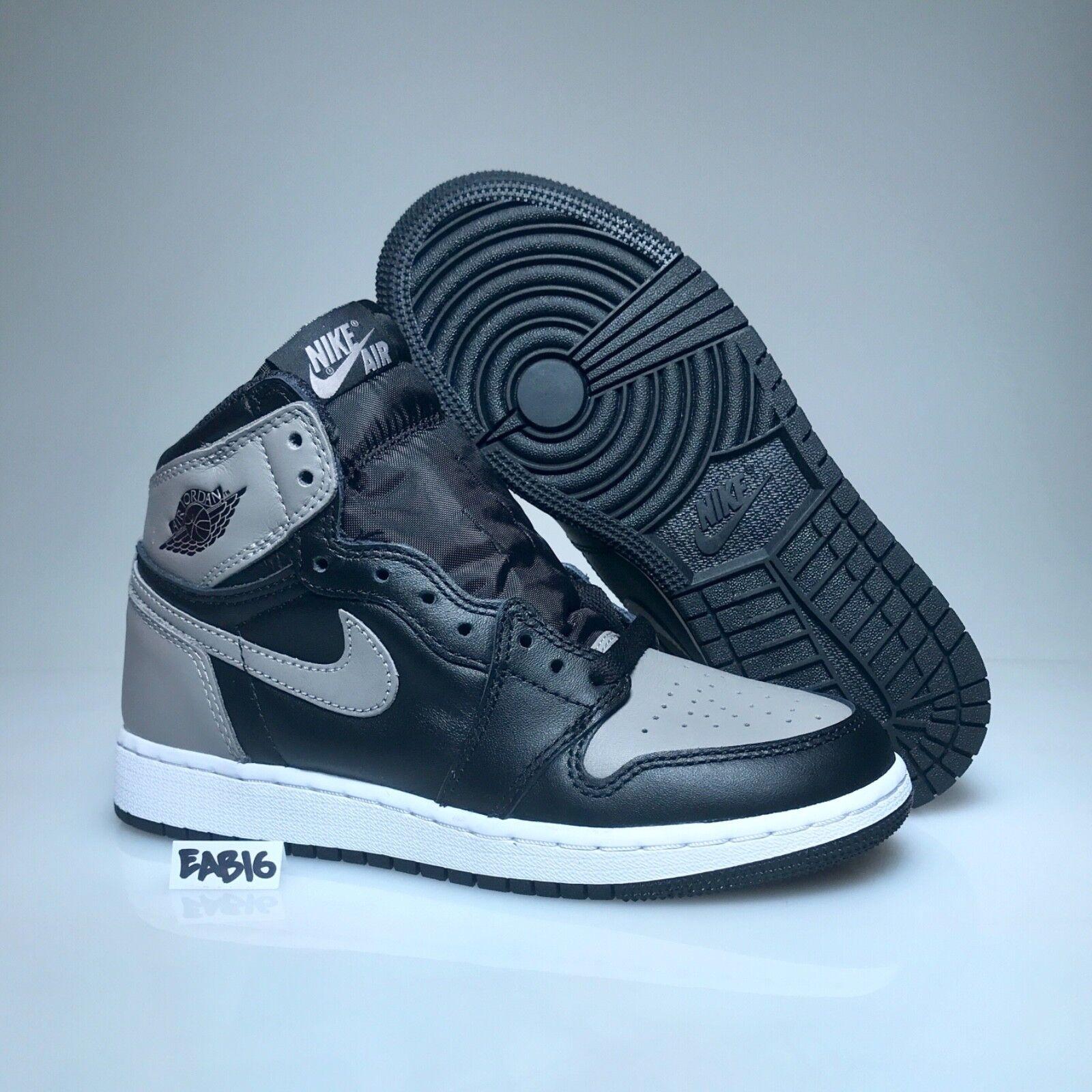 Nike Air Jordan Retro 1 OG BG Shadow Black Grey 575441 013 Gray Grade School GS The latest discount shoes for men and women