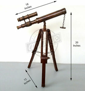 Vintage Marine Telescope with Stand Tripod Sailor Navy Antique Decor Gift H