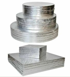 BULK-PACKS-5-10-Cake-Boards-Round-Square-Strong-Silver-Drum-Board-12mm-THICK