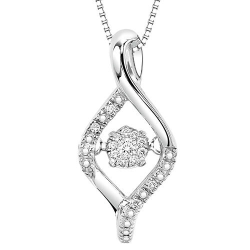 Sterling Silver Diamond Drop Pendant W/Chain Rhythm Of Love 2D