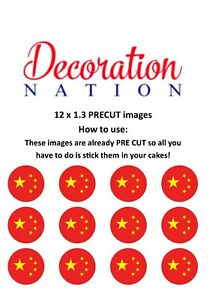 Details about 12 Chinese Flag PRECUT Edible Cake Topper China Country
