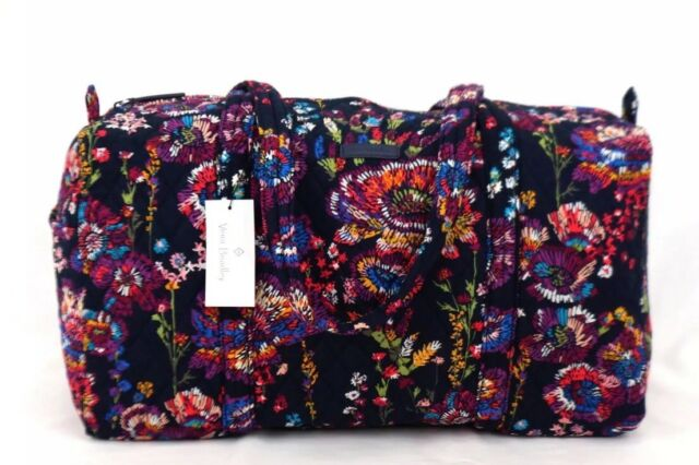 Vera Bradley Midnight Wildflower Small Duffel Gym Weekender Bag