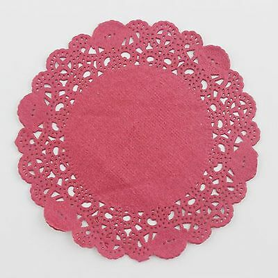 "20pcs 4"" /10cm Round Lace Doilies paper for Party craft Scrapbooking Dark Red"