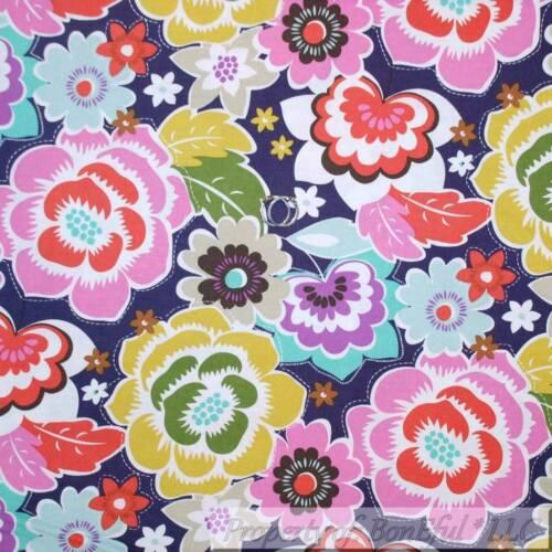 BonEful Fabric FQ Cotton Quilt Purple White Yellow Pink Flower Girl Large Hippie