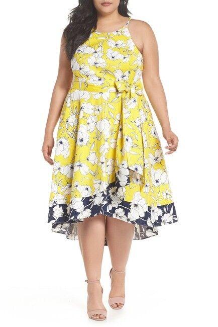 ELIZA J  FLORAL PRINT HIGH HIGH HIGH LOW FIT FLARE  DRESS sz 16 W 0221f3