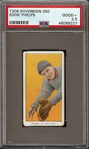 Very Rare 1909-11 T206 Eddie Phelps Sovereign 350 St. Louis PSA 2.5 GD +