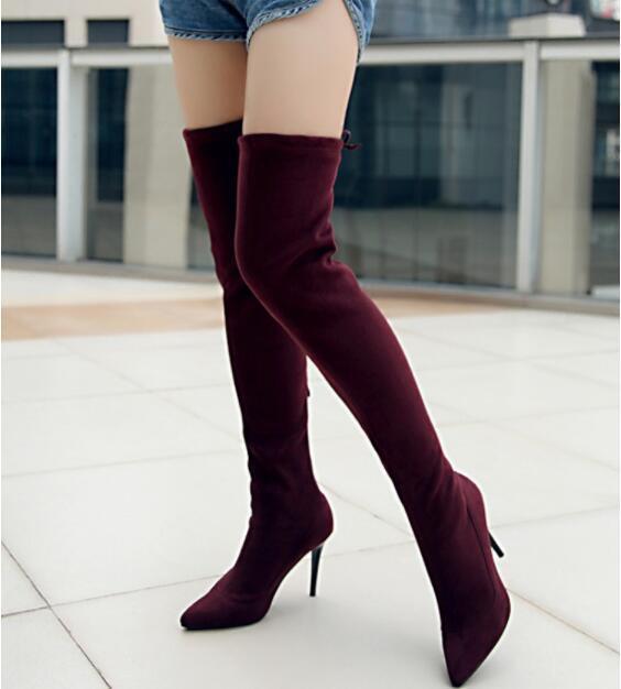 femmes European Oxford Pointy Toe Knee High bottes Stilettos High Heel chaussures