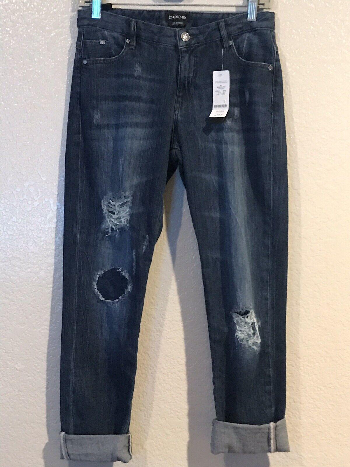 Bebe Distressed Ripped Heartbreaker Skinny Boyfriend Jeans Size 27