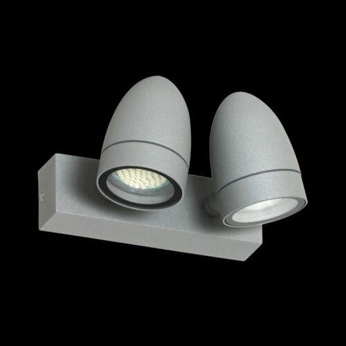 Außenwandstrahler UP/&Down Light Wandleuchte LED 2x 4W GU10 Doppelwandleuchte ALU