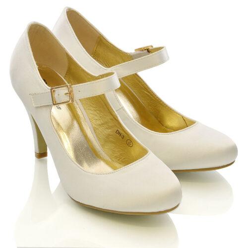 Damen Braut Stiletto Weiß Elfenbein Satin Ferse Hochzeit Brautjungfer Schuhe