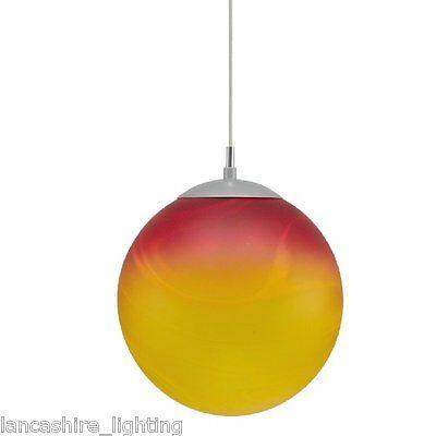 Retro Globe Ceiling Light Pendant With Coloured Red  & Orange Glass Shade