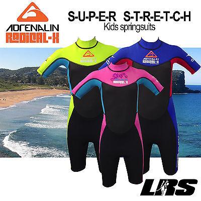 NEW Adrenalin kids Radical super stretch Springsuit Wetsuit Short Sleeve & Leg