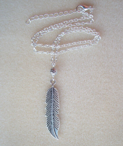 """Large Silver Feather Charm and Starry Bead 15/"""" Chain Necklace in Gift Bag"""