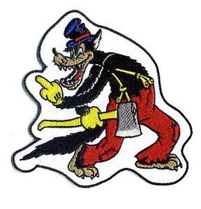 Auto & Motorrad: Teile Automobilia ZuverläSsig Big Bad Wolf Aufnäher Mittelfinger Wolfy Cartoon Mit Axt Retro Rockabilly Tattoo