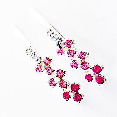 USA Bobby Pin Rhinestone Crystal Hair Clip Hairpin Simple Fashion Silver Pink 8