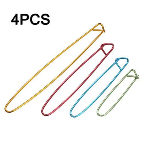 4PCS Alloy Stitch Holders Pins Knit Knitting Needles Crochet Hooks Weaving Tools