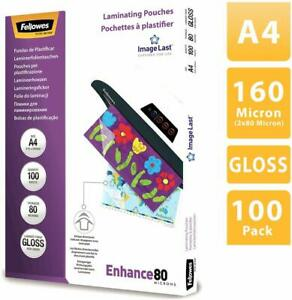FELLOWES Pack de 100 Pochette à plastifier, A4, brillante, 160 microns (2x80)