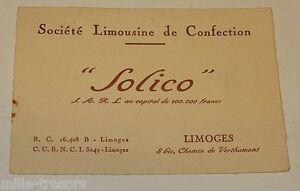 Ancienne CARTE De VISITE SOLICO Societe Limousine
