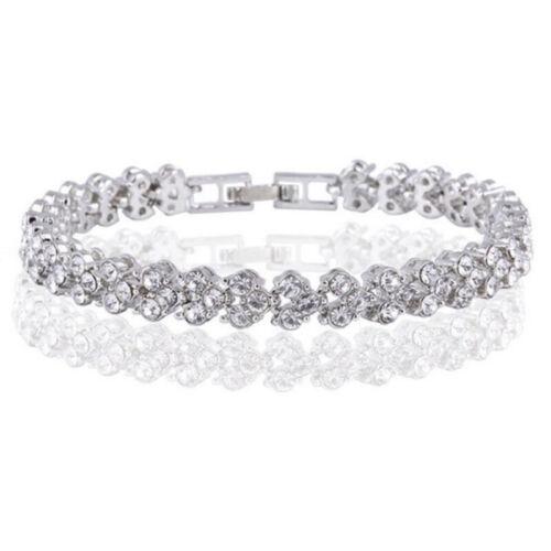 Women Crystal Rhinestone Bracelet Bangle Wedding Bridal Wristband Charm Jewelry